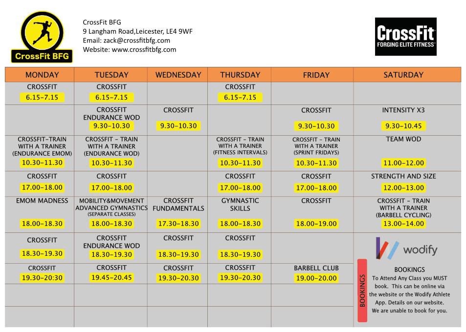 Timetable – CrossFit BFG